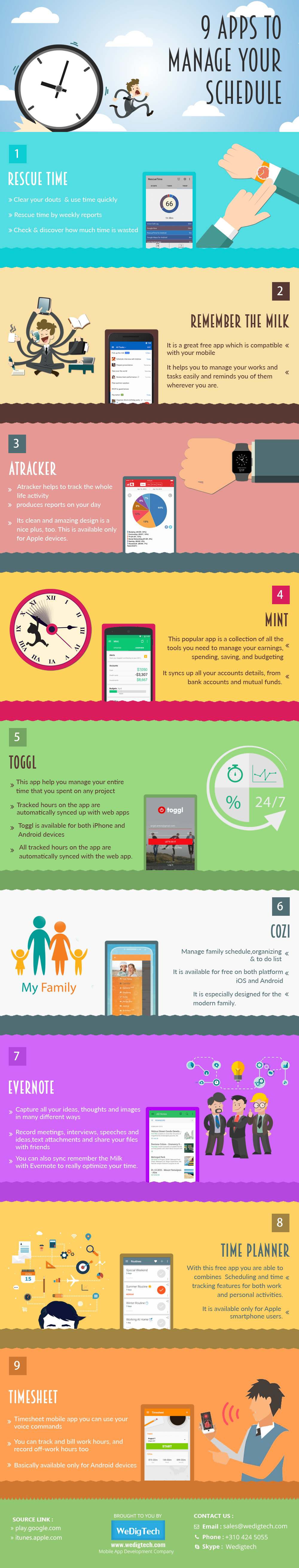 9 Apps Manage Schedule - Time Scheduling App InfoGraphics